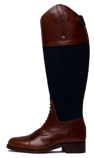 Comfortable boots for woman, tall boots in leather, mix of leather and suede boots for woman, brown and blue boots, navy and brown boots for woman, lace tall boots