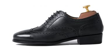 Womens formal shoes, womens shoes for work, blucher wingtip shoes for her in black