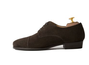 Suede oxford shoes, suede brown oxford shoes, good quality handmade shoes, store in Madrid handmade shoes