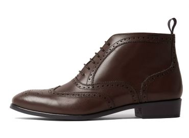 Ankle boots made of brown leather, ankle boots for women with brogue