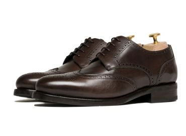 Derby shoes, blucher shoes, leather shoes, dark Brown shoes for men