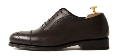 Brown Oxford shoes, dark Brown shoes for men, semi brogue shoes