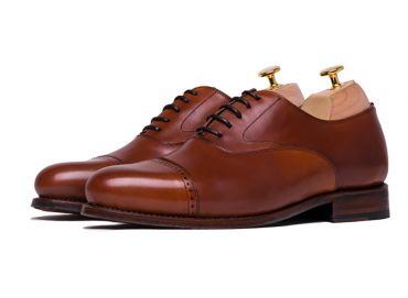 Cognac half brogue oxfords, mens dress shoes