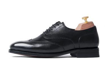 Black austerity brogue, black dress shoes , oxfords for men
