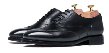 Black austerity brogue, black dress shoes , oxfords for men