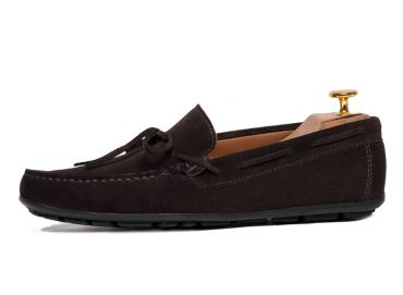 Colorful shoes, shoes for each summer season, driver shoes, driving, soft dark brown suede moccasin