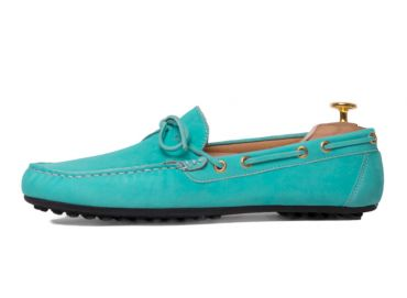 Driver shoe made of suede on light blue colour. Comfortable shoe for summer