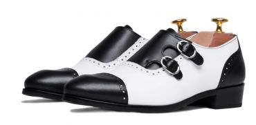 Women's double buckle shoes, women's monkstrap, women's black and white shoes, durable shoes