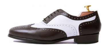 Womens formal shoes, womens shoes for work, oxford wingtip shoes for her in brown and white