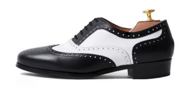 Womens formal shoes, womens shoes for work, oxford wingtip shoes for her in black and white