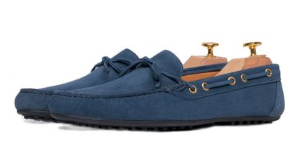 Navy Blue Suede Italian Driving Shoe Moccasins