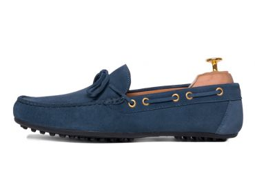 Driver colored suede Italian navy listen, driver with lace and rubber sole, suede moccasin made soft