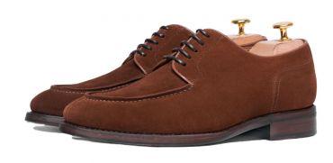 Derby suede shoes for men, blucher in brown cognac for men