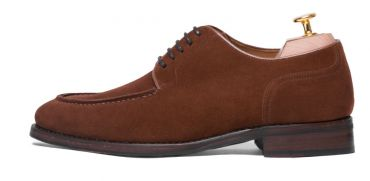 Derby suede shoes for men, blucher in brown cognac for men