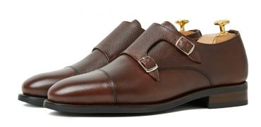 Double monk strap shoes, dark brown suede monks, cassual shoes for men