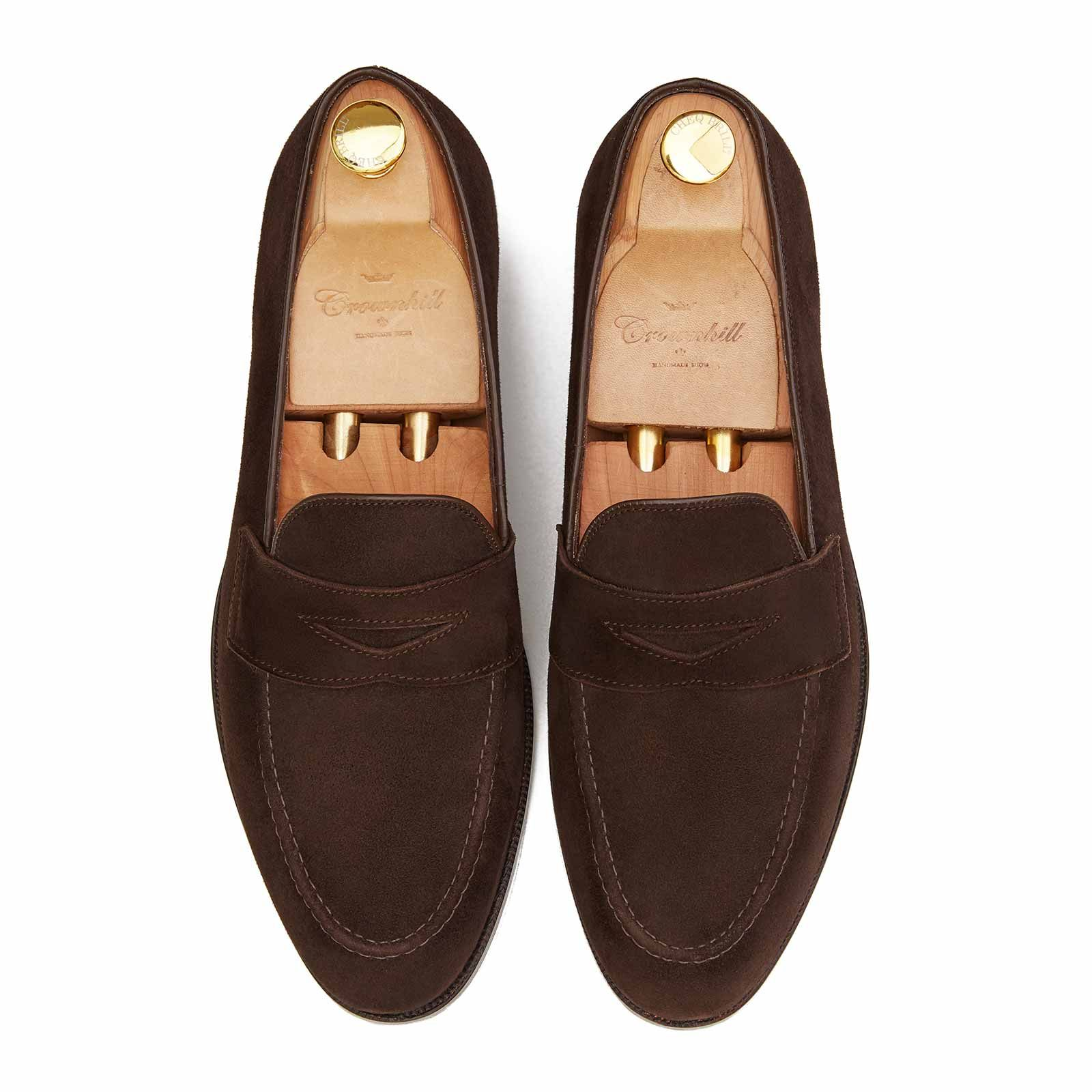 The Leipzig: Brown suede penny loafer