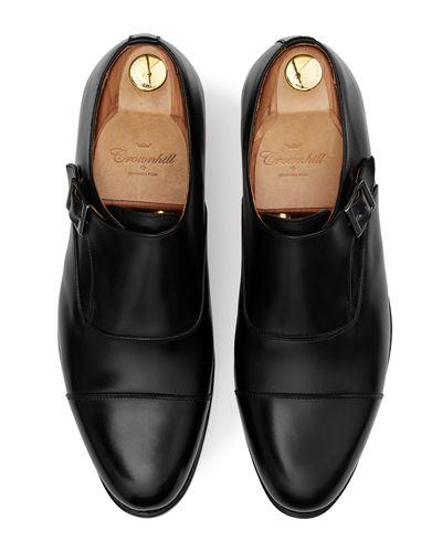 Comfortable walking shoes for men, single monkstrap leather shoes in black