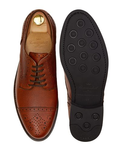 Golf shoes in orange leather, blucher shoes with brogues in orange leather, comfortable shoes with openings