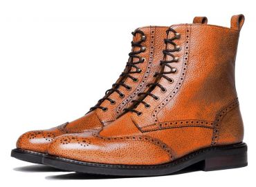 Brown Derby boots, wing tip boots, scotch grain boots
