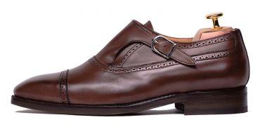 Monkstrap for men, dress brown shoes, black single monkstrap