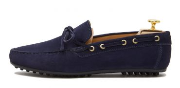 Suede driver shoes with a dark tone of blue. Comfortable shoe for summer