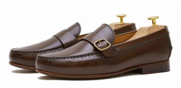 Loafers with side boucles. Comfortable brown leather moccasins for summer
