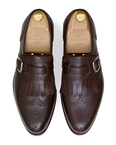 Brown brogue wing tip monks, brown mens shoes