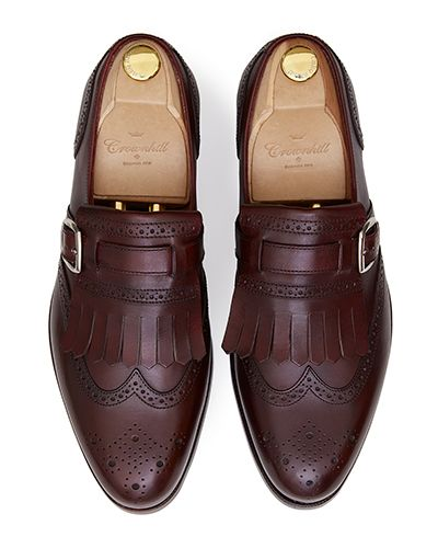 Bordeaux brogue wing tip monks, brown mens shoes