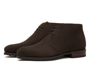 Dark brown suede chealsea boots, cassual mens boots