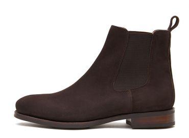 Dark brown suede chealsea boots, cassual mens boots