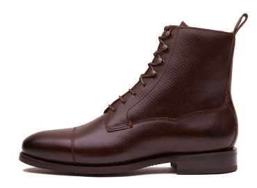 Boots with laces grain leather, men's boots in chocolate brown leather, comfortable boots