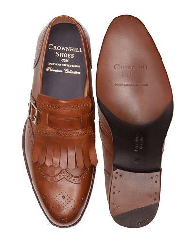 Bordeaux brogue wing tip monks, brown mens shoes